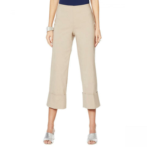 MarlaWynne Women's Twill FLATTERfit Cropped Pants With Cuff