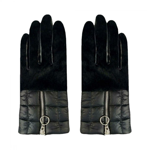Aristide Women's Rabbit Fur Trim Puffer Gloves