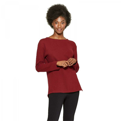 A New Day Women's Textured Cotton Long Sleeve Structured Knit Top Shirt