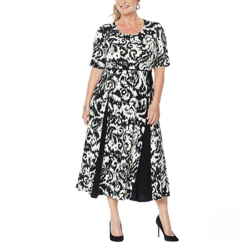 Nina Leonard Women's Plus Size Nicole Belted Midi Dress With Godet Detail