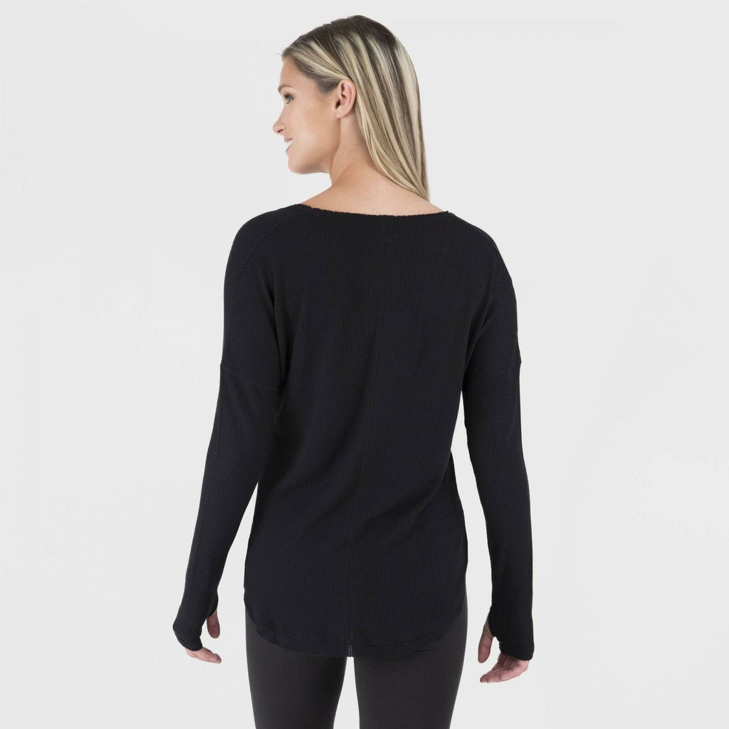 Wander by Hottotties Womens Waffle Collection Lea Long Sleeve V Neck Top