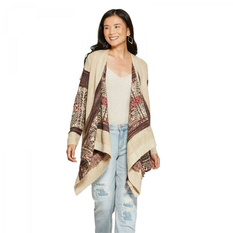Knox Rose Women's Long Sleeve Jacquard Open Cardigan Sweater with Fringe