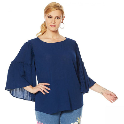 DG2 by Diane Gilman Women's Plus Size Ruffle Sleeve Crinkle Knit Top
