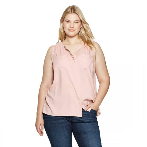 Ava & Viv Women's Plus Size Knit to Woven Crewneck Utility Blouse