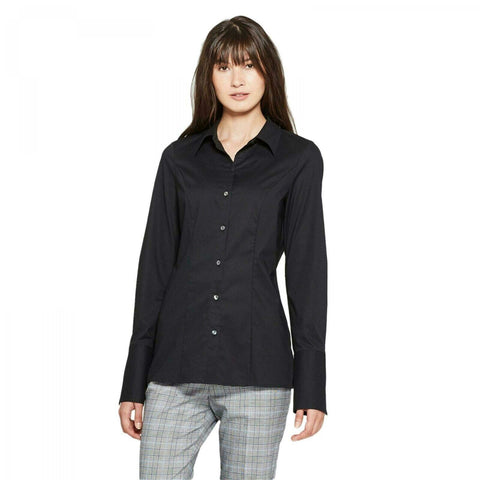 Prologue Women's Long Sleeve Fitted Button-Down Collared Shirt Blouse Top