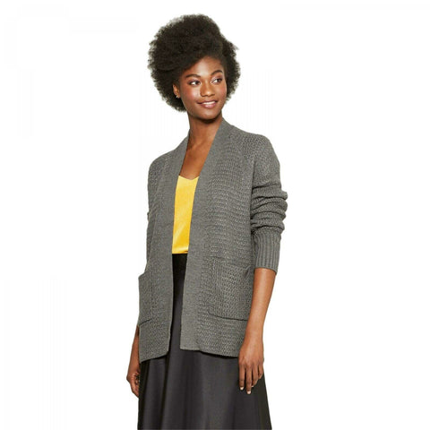 A New Day Women's Textured Open Layering Cardigan Sweater with Pockets