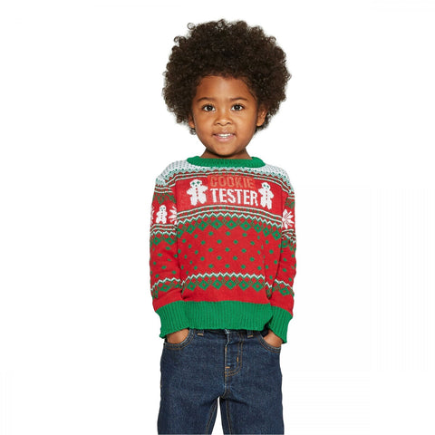 Well Worn Toddler Boys COOKIE TESTER Ugly Christmas Sweater