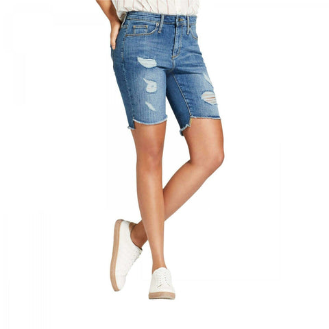 Universal Thread Women's High-Rise Destructed Bermuda Denim Jean Shorts