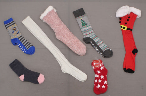 Women's LOT OF 7 Pairs Assorted Holiday Christmas Socks
