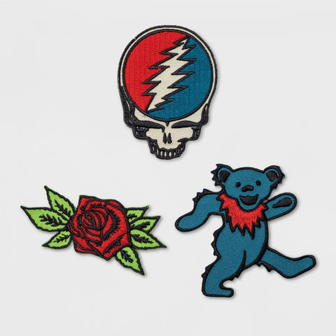 Rock by Junk Food Grateful Dead 3 Piece Iron On Patches