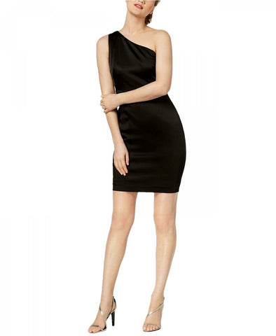 Calvin Klein Women's One-Shoulder Satin Sheath Dress. CD8BD464 Black 12
