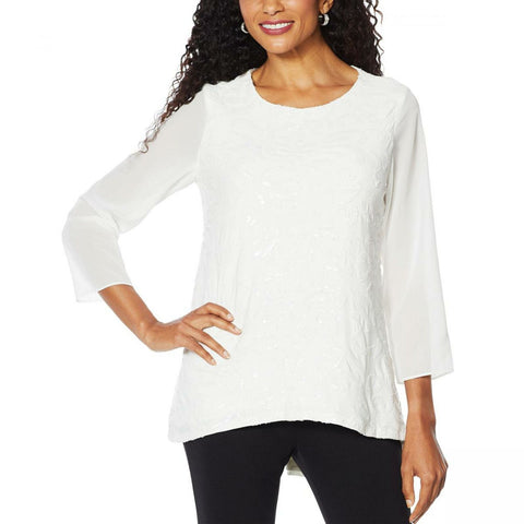 Slinky Brand Women's 3/4-Sleeve Embroidered Sequin Tunic Blouse