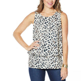 DG2 by Diane Gilman Women's Printed Mixed Media Easy Tank Top
