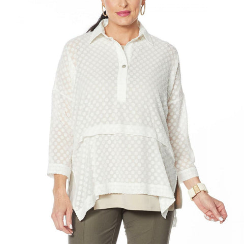 MarlaWynne WynneLayers Women's Plus Size Chiffon Jacquard Popover Top