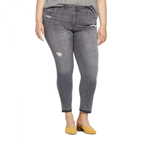 Universal Thread Women's Plus Size Black Wash Released Hem Skinny Jeans