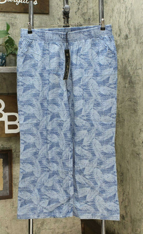 DG2 by Diane Gilman Women's Petite Palm SoftCell Chambray Wide Leg Pants PXL