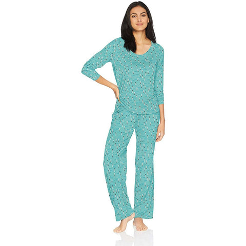 HUE Women's 2 Piece Printed Knit Pajama Set