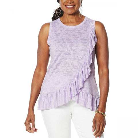 DG2 by Diane Gilman Women's Burnout Ruffle Tank Top