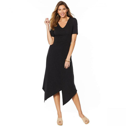 Curations Women's V-Neck Asymmetric Hem Knit Midi Dress