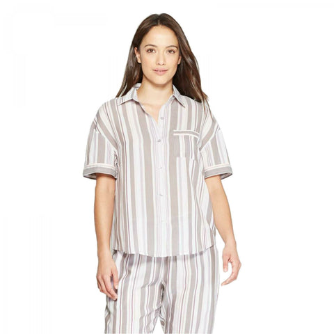 Stars Above Women's Striped Simply Cool Short Sleeve Button-Up Pajama Shirt