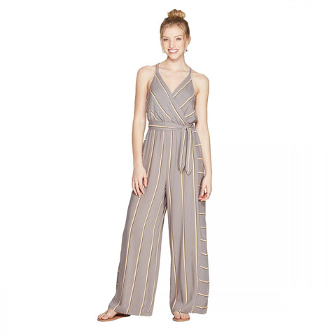 Xhilaration Women's Striped V-Neck Strappy Wrap Jumpsuit