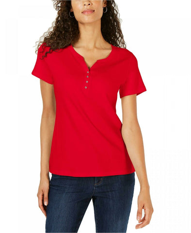 Karen Scott Women's Short Sleeve Henley Top Shirt. 100028125MS