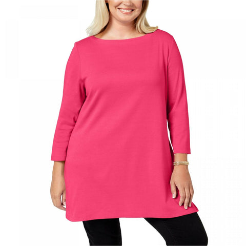 Karen Scott Women's Plus Size Cotton Tunic Top