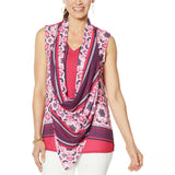 DG2 by Diane Gilman Women's Colorblocked Print and Solid Tank Top With Scarf