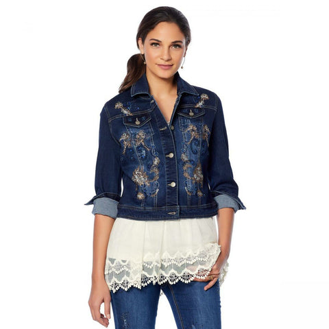 LaBellum by Hillary Scott Women's Embellished Denim Jean Jacket