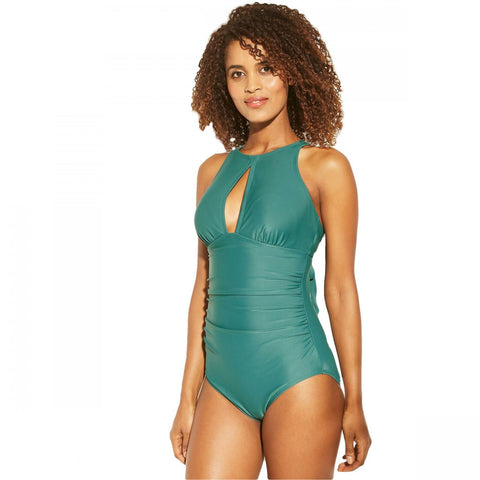 Kona Sol Women's Shirred Keyhole High Neck One Piece Swimsuit
