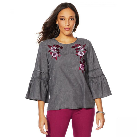 DG2 by Diane Gilman Women's Flare Sleeve Denim Top With Embroidery