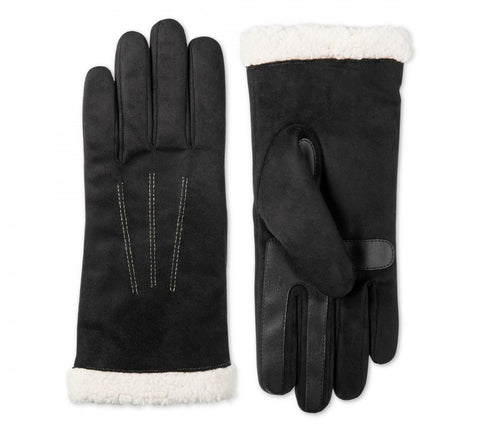 Isotoner Signature SmartDRI Touchscreen Gloves SherpaSoft Cuff Black L/XL