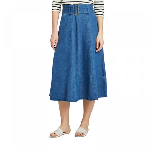 Who What Wear NWT Mid Rise Belted Swing A-Line Midi Skirt Blue 16