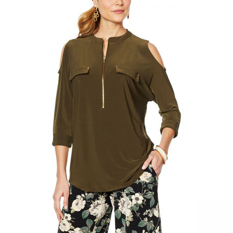 Nina Leonard Women's Cold Shoulder 3/4 Sleeve Tunic Top