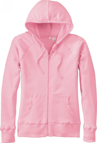 District Threads Women's Mini Ribbed Full Zip Hoodie DT227 Pink XXL