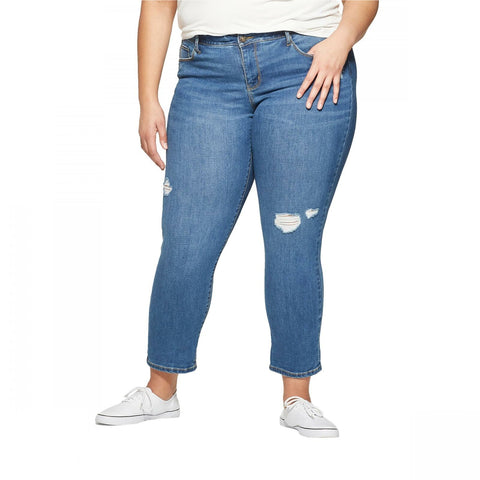 Ava & Viv Women's Plus Size Straight Leg Destructed Girlfriend Jeans