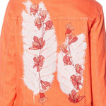 DG2 by Diane Gilman Women's Plus Size Leaf Embroidered Trucker Jean Jacket