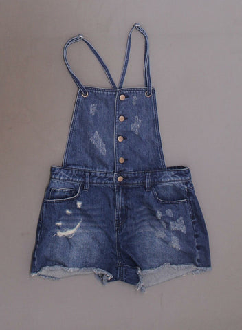 Tinseltown Women's Distressed Denim Shortalls Overalls
