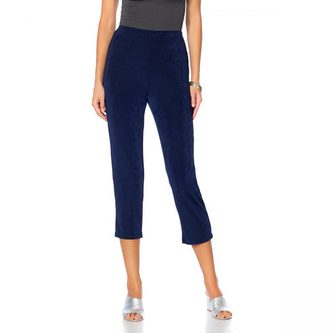 Slinky Brand Women's Plus Size Pull On Straight Leg Crop Pants