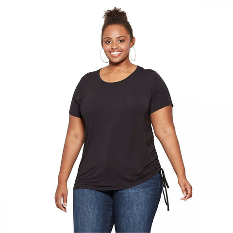 Ava & Viv Women's Plus Size Side Ruched Short Sleeve T-Shirt Top