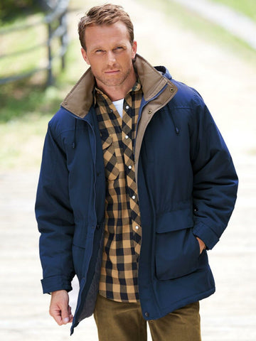 Stone Creek Men's Removable Hood Quilt Lined Parka Navy XL