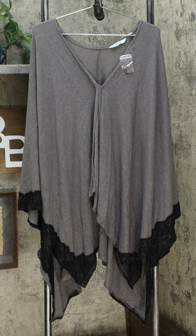 Soft & Cozy Women's Plus Size Brushed Hacci Knit Poncho With Lace Trim