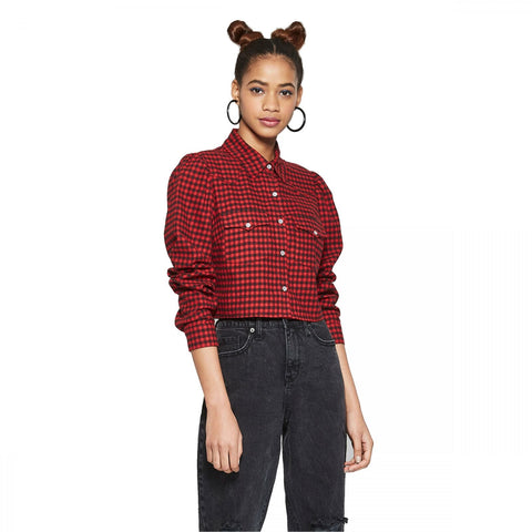 Wild Fable Women's Cropped Plaid Long Sleeve Snap Flannel Western Shirt