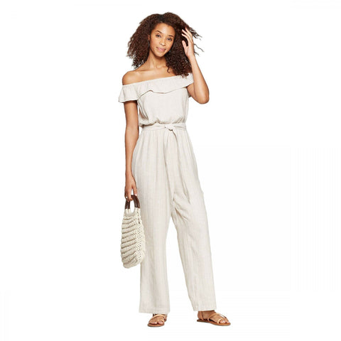 Universal Thread Women's Off the Shoulder Mini Cap Sleeve Wide Leg Jumpsuit
