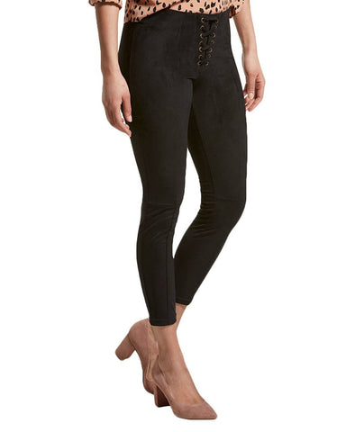 HUE Women's Lace-Up Microsuede Skimmer Leggings Pants. U19333H