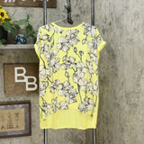 DG2 by Diane Gilman Women's Printed Front Hi Low Hem Top Lemon Floral Large