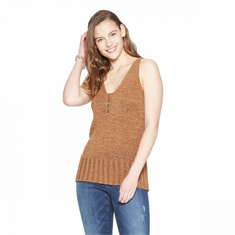 Universal Thread Women's Sleeveless V-Neck Henley Sweater Tank Top