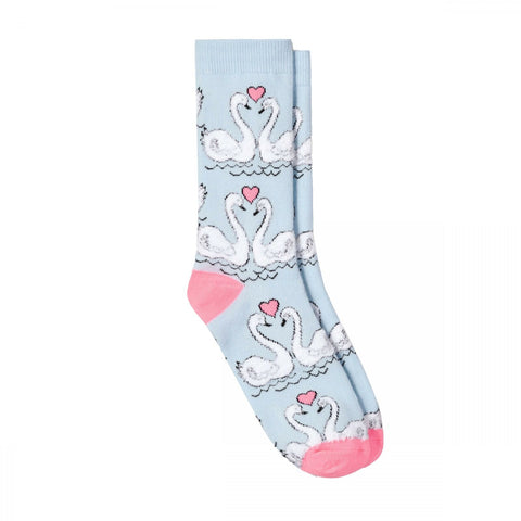 Xhilaration Women's Valentine's Day Fuzzy Swans Crew Socks