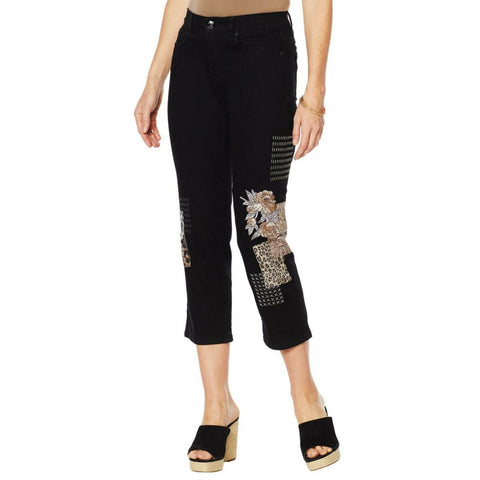 DG2 by Diane Gilman Women's Tall Classic Stretch Embroidered Cropped Jeans