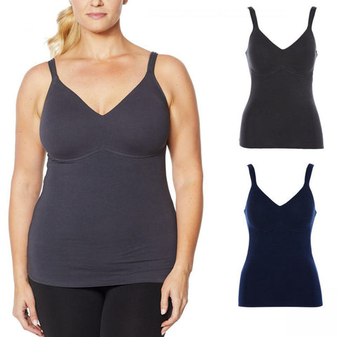 Rhonda Shear Women's Plus Size 2 Pack Cotton Molded Cup Camisoles